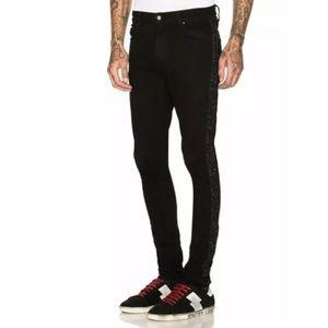 AMIRI Black Glitter Strip Stack Jeans Denim